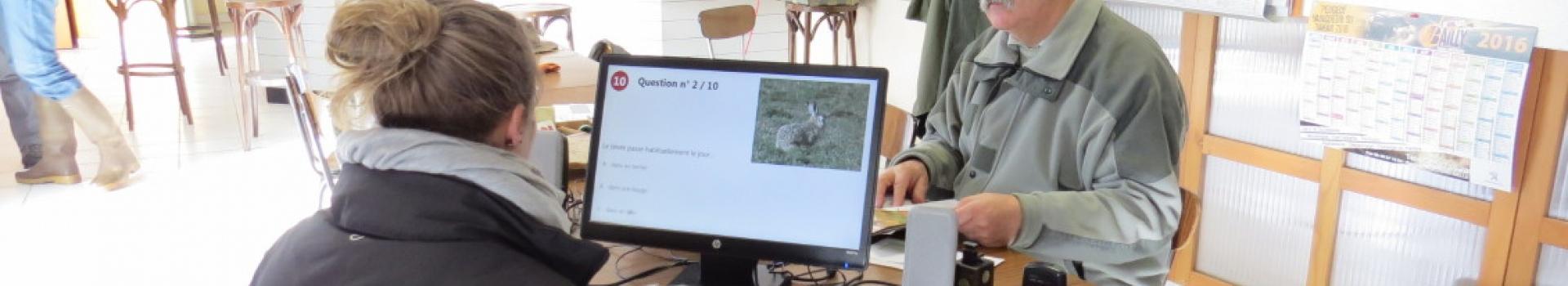 candidate lors de l'examen du permis de chasser